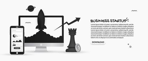 Business startup design with spaceship launching from monitor