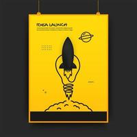 Poster with launching connected rocket and light bulb
