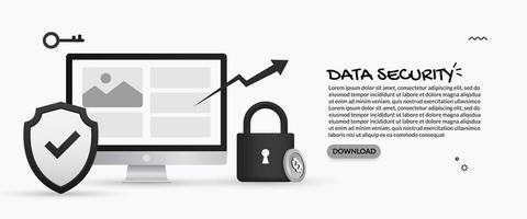 Data security and personal information protection design vector