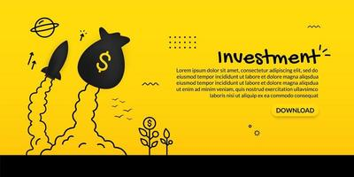 Launching money bag and spaceship on yellow vector