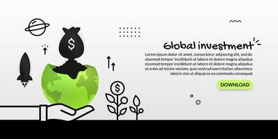 Money bag launching out of planet investment concept vector