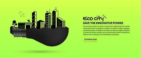 futuro eco ciudad inteligente dentro de la bombilla vector