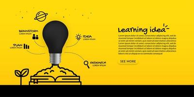 Light bulb launching from book learning concept