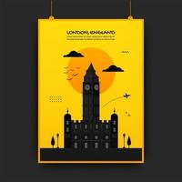 England traveling poster in yellow and black vector