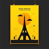 France traveling poster in yellow and black
