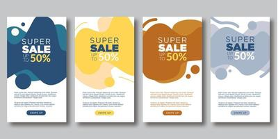 Creative Trendy Social Media Stories Sale Set vector