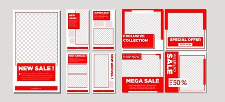 Red and White Social Media Sale Collection vector