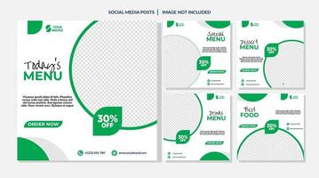 White and Green Circle Food Sale Social Media Templates