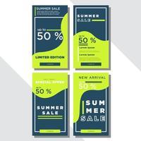 groene en blauwe golvende sociale media verkoop set