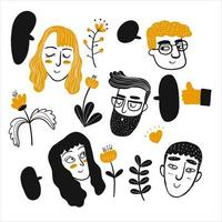 Hand drawn people faces set vector