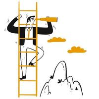 Business leader with telescope climbing ladder