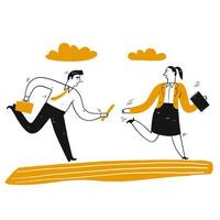 Hand drawn business man and woman in relay race vector