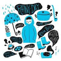 Hand drawn raindy day elements vector