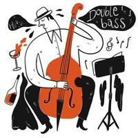 Hand drawn man playing double bass vector