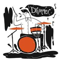 hombre dibujado a mano tocando la batería vector