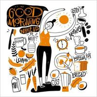 Hand drawn woman and morning elements vector