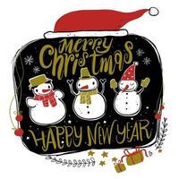 Hand draw snowmen and santa hat vector