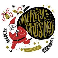 Santa dibujado a mano con una gran bolsa de regalo