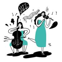 Hand drawing women playing jazz music vector
