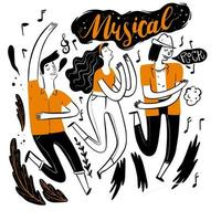 Hand drawn people dancing at music festival vector