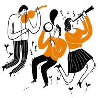 Musicians Playing Violins, Clarinet, Drum vector