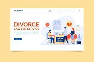 plantilla de página de inicio de servicio de abogado de divorcio vector