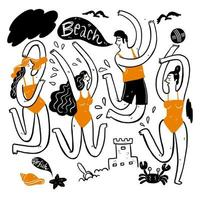 hombres y mujeres jóvenes bailando en la playa