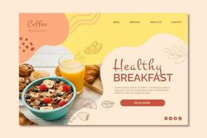 Healthy breakfast restaurant landing page template