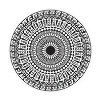 mandala de círculo decorativo blanco y negro