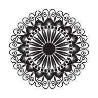 Black Mandala with Floral Style