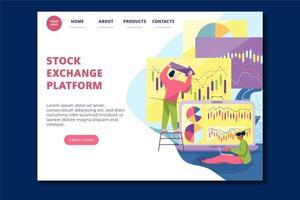 design da página de destino da plataforma da bolsa de valores vetor