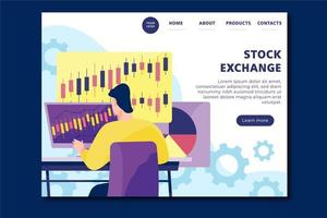 Stock exchange landing page vector