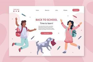Back to school landing page with kids wearing backpacks  vector