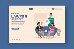 página de inicio del servicio de abogado de divorcio vector