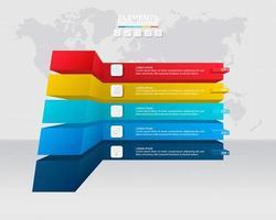 modèle infographique avec 5 options 3d colorées