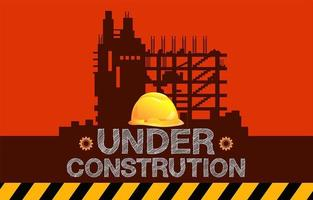 Under construction sign with building silhouette and hard hat vector