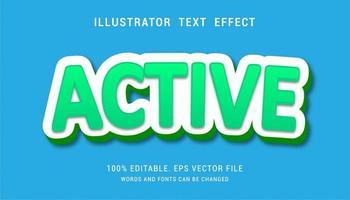 efeito de texto ativo em verde com contorno branco grosso vetor
