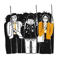 Dibujado a mano hombre enfermo en tren estornudando sobre personas vector