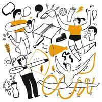actividades deportivas dibujadas a mano vector