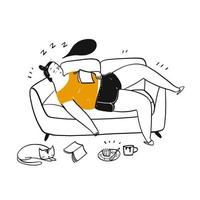 Hand drawn woman asleep on sofa vector