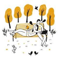 pareja dibujada a mano leyendo en el banco en el parque vector