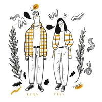 Hand drawn hip couple