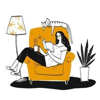 Hand drawn woman reading a book on chair vector