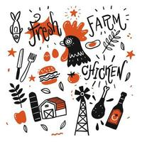 Hand drawn farm elements vector