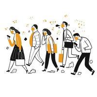 grupo desenhado mão de pessoas mascaradas andando vetor