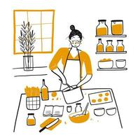 Hand drawn young woman cooking in kitchen vector