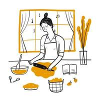 Hand drawn woman rolling dough vector