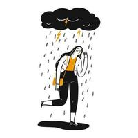 Hand drawn sad woman under cloud vector