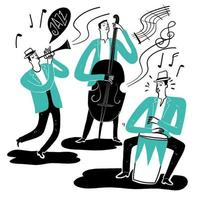 Hand drawn group of musicians playing instruments vector
