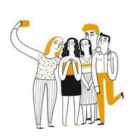 jóvenes dibujados a mano tomando selfie